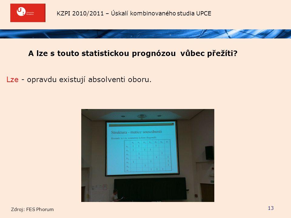 KZPI 2010/2011 – Úskalí kombinovaného studia UPCE 13 A lze s touto statistickou prognózou vůbec přežíti? Lze - opravdu existují absolventi oboru. Zdro