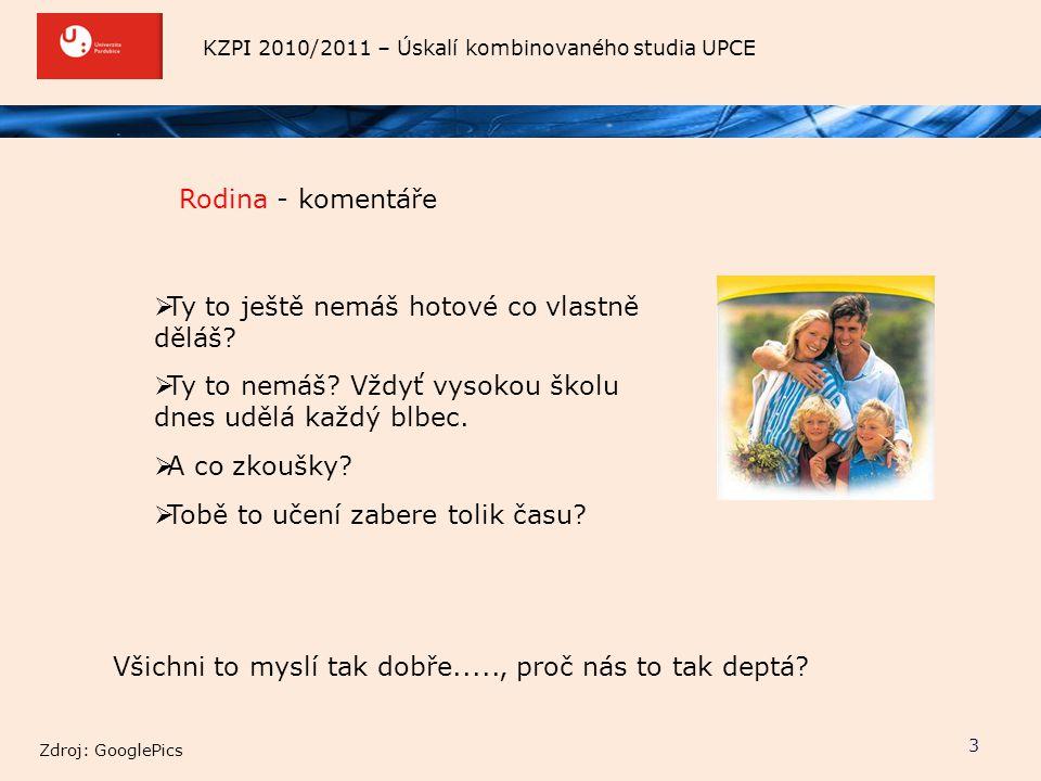 KZPI 2010/2011 – Úskalí kombinovaného studia UPCE Rodina - komentáře 3  Ty to ještě nemáš hotové co vlastně děláš?  Ty to nemáš? Vždyť vysokou školu