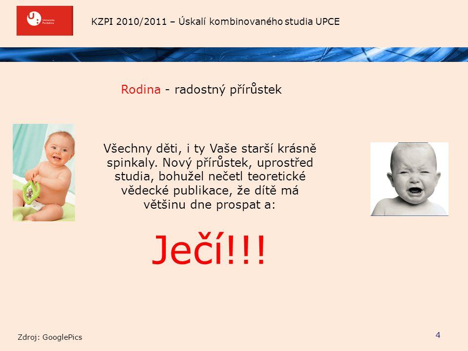 KZPI 2010/2011 – Úskalí kombinovaného studia UPCE Rodina - radostný přírůstek 4 Všechny děti, i ty Vaše starší krásně spinkaly. Nový přírůstek, uprost