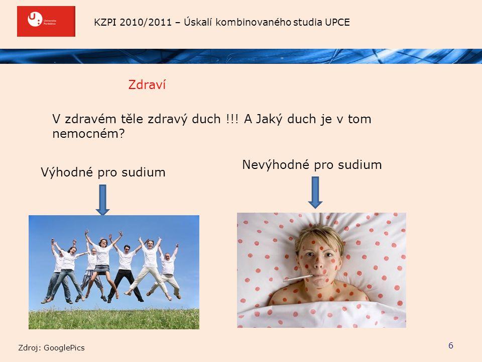 KZPI 2010/2011 – Úskalí kombinovaného studia UPCE Zdraví 6 V zdravém těle zdravý duch !!! A Jaký duch je v tom nemocném? Výhodné pro sudium Zdroj: Goo