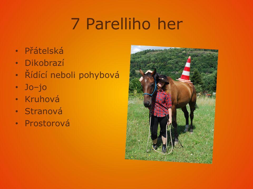 7 Parelliho her • Přátelská • Dikobrazí • Řídící neboli pohybová • Jo–jo • Kruhová • Stranová • Prostorová