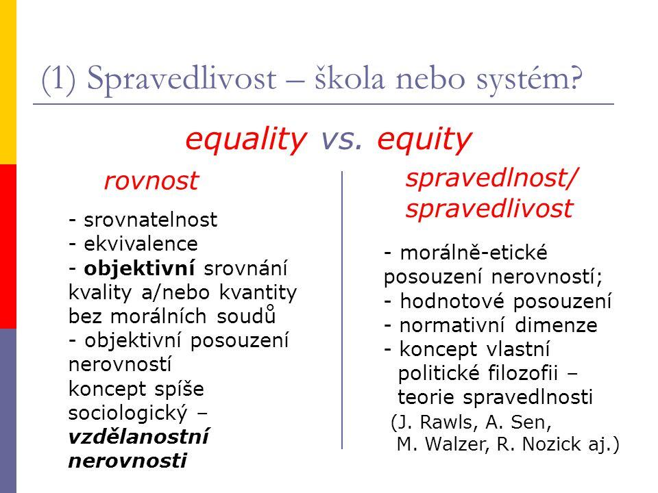 (1) Spravedlivost – škola nebo systém? equality vs. equity rovnost spravedlnost/ spravedlivost - srovnatelnost - ekvivalence - objektivní srovnání kva