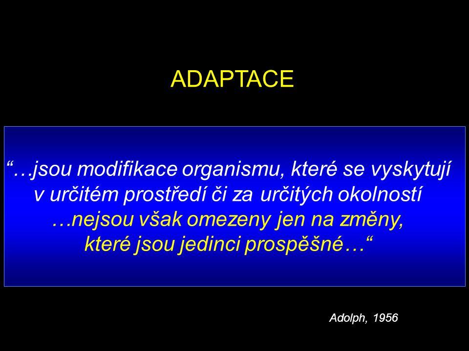 …jsou modifikace organismu, které se vyskytují v určitém prostředí či za určitých okolností …nejsou však omezeny jen na změny, které jsou jedinci prospěšné… ADAPTACE Adolph, 1956
