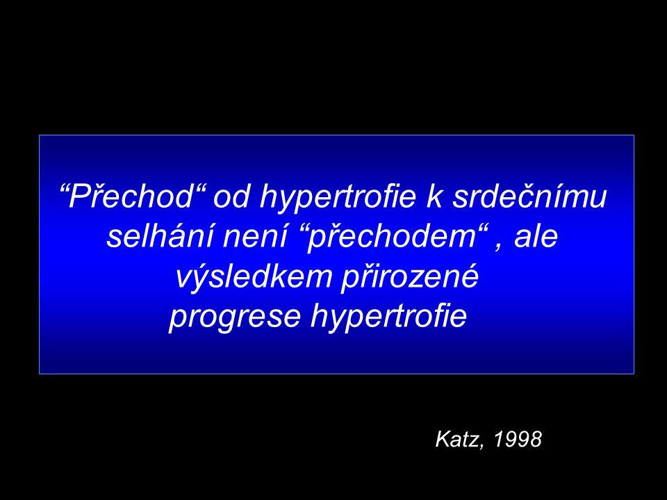 Přechod od hypertrofie k srdečnímu selhání není přechodem , ale výsledkem přirozené progrese hypertrofie Katz, 1998