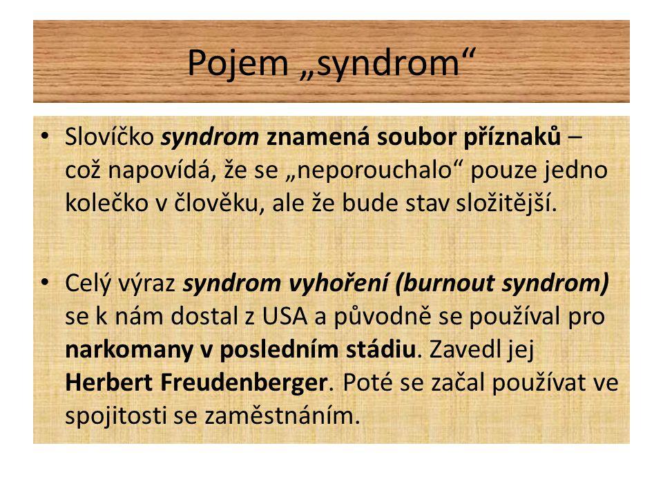 """Pojem """"syndrom • Slovíčko syndrom znamená soubor příznaků – což napovídá, že se """"neporouchalo pouze jedno kolečko v člověku, ale že bude stav složitější."""