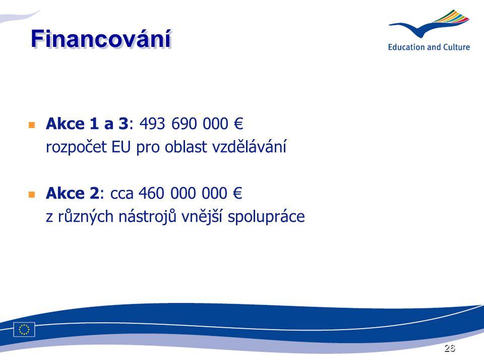26 Financování  Akce 1 a 3: 493 690 000 € rozpočet EU pro oblast vzdělávání  Akce 2: cca 460 000 000 € z různých nástrojů vnější spolupráce