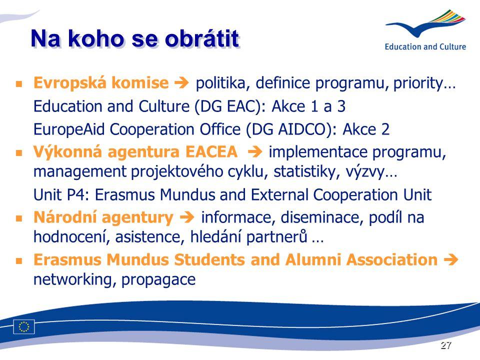 27 Na koho se obrátit  Evropská komise  politika, definice programu, priority… Education and Culture (DG EAC): Akce 1 a 3 EuropeAid Cooperation Office (DG AIDCO): Akce 2  Výkonná agentura EACEA  implementace programu, management projektového cyklu, statistiky, výzvy… Unit P4: Erasmus Mundus and External Cooperation Unit  Národní agentury  informace, diseminace, podíl na hodnocení, asistence, hledání partnerů …  Erasmus Mundus Students and Alumni Association  networking, propagace