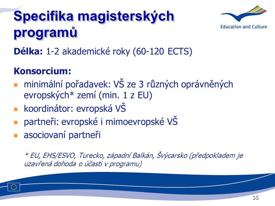 35 Specifika magisterských programů Délka: 1-2 akademické roky (60-120 ECTS) Konsorcium:  minimální pořadavek: VŠ ze 3 různých oprávněných evropských* zemí (min.