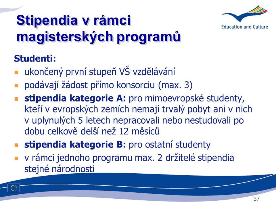 37 Stipendia v rámci magisterských programů Studenti:  ukončený první stupeň VŠ vzdělávání  podávají žádost přímo konsorciu (max.