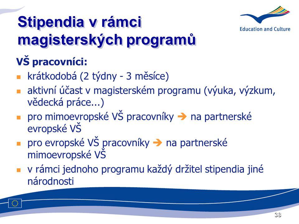 38 Stipendia v rámci magisterských programů VŠ pracovníci:  krátkodobá (2 týdny - 3 měsíce)  aktivní účast v magisterském programu (výuka, výzkum, vědecká práce...)  pro mimoevropské VŠ pracovníky  na partnerské evropské VŠ  pro evropské VŠ pracovníky  na partnerské mimoevropské VŠ  v rámci jednoho programu každý držitel stipendia jiné národnosti