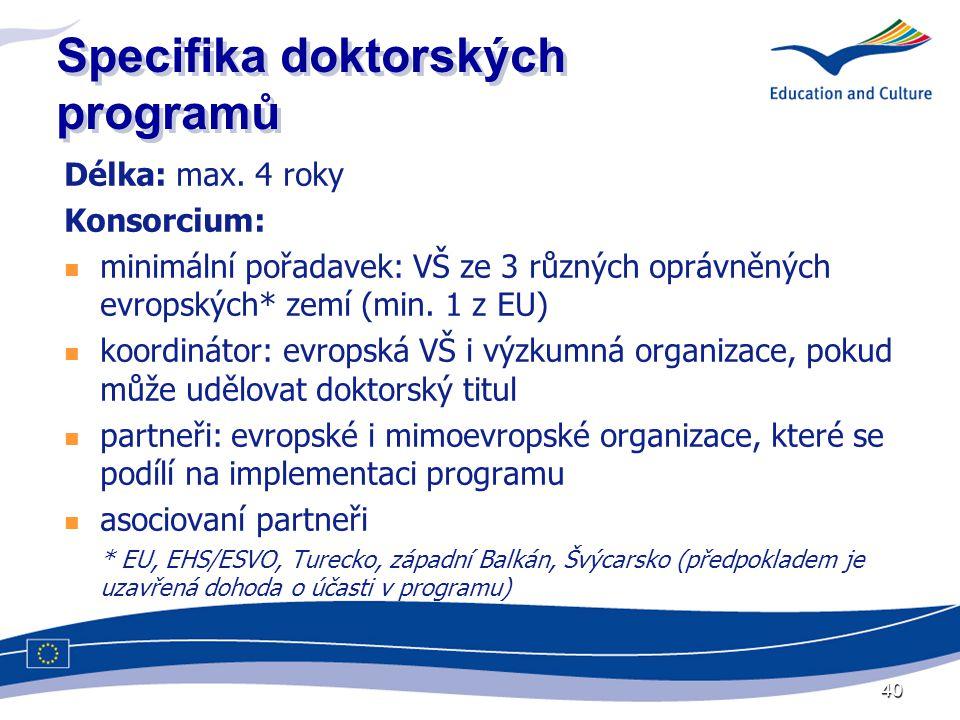 40 Specifika doktorských programů Délka: max.