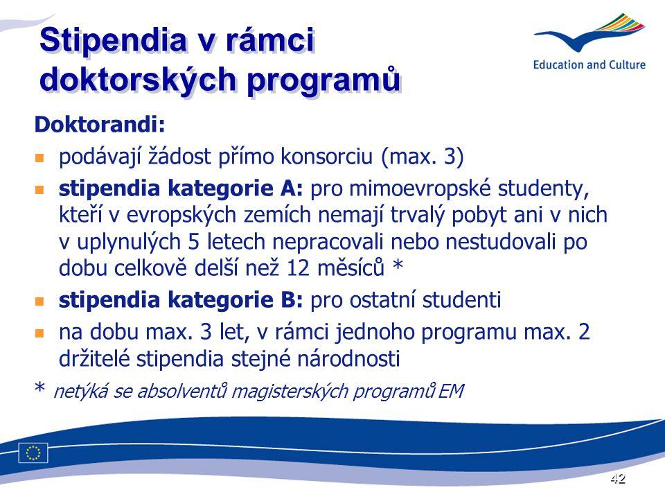 42 Stipendia v rámci doktorských programů Doktorandi:  podávají žádost přímo konsorciu (max.