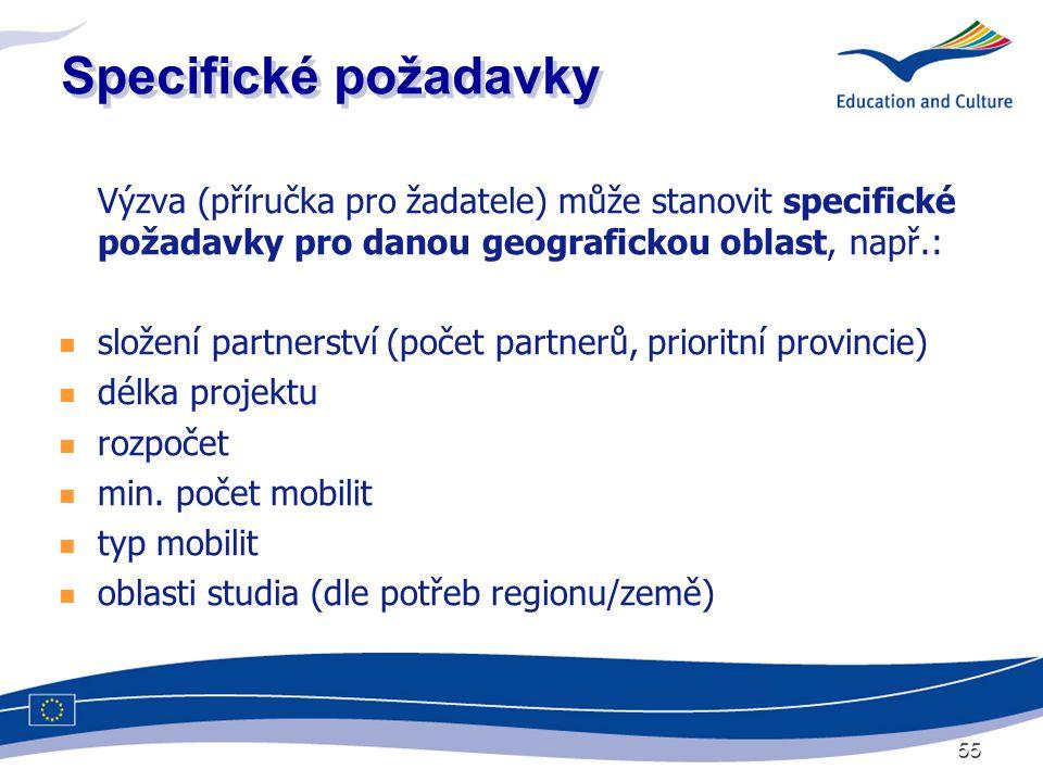 55 Specifické požadavky Výzva (příručka pro žadatele) může stanovit specifické požadavky pro danou geografickou oblast, např.:  složení partnerství (počet partnerů, prioritní provincie)  délka projektu  rozpočet  min.
