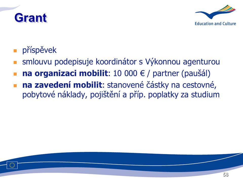 58 Grant  příspěvek  smlouvu podepisuje koordinátor s Výkonnou agenturou  na organizaci mobilit: 10 000 € / partner (paušál)  na zavedení mobilit: stanovené částky na cestovné, pobytové náklady, pojištění a příp.