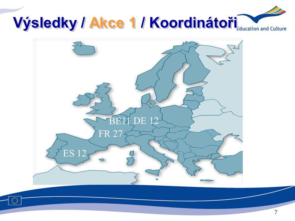 7 Výsledky / Akce 1 / Koordinátoři DE 12 FR 27 ES 12 BE11