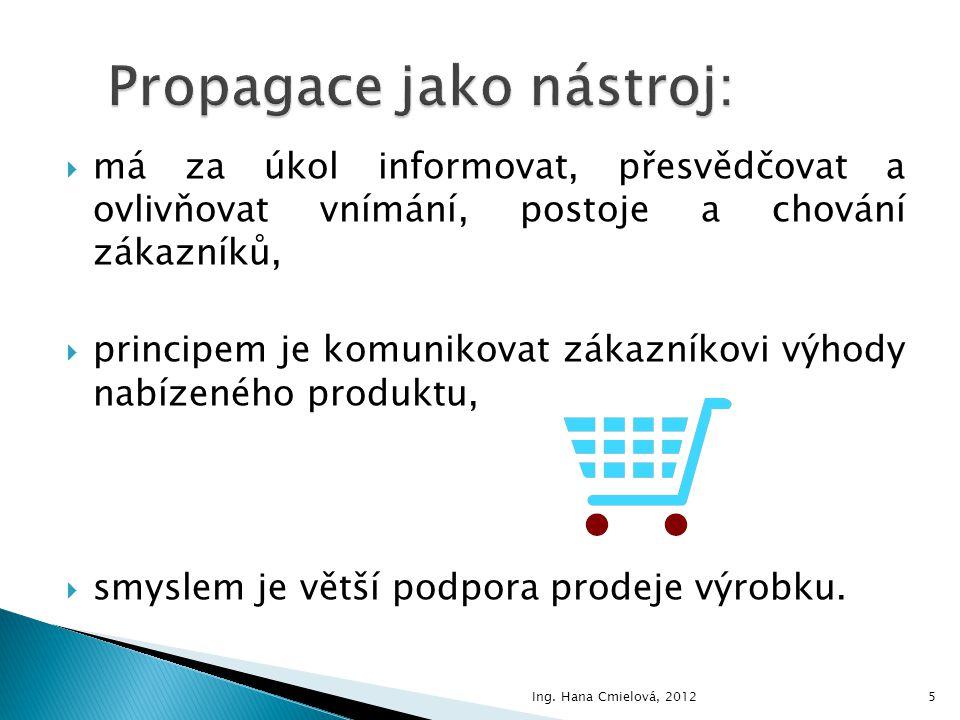  Rozeznáváme tyto základní formy propagace (komunikační mix): 1.reklama 2.podpora prodeje 3.publicita (public relations) 4.osobní prodej 5.přímý marketing (direct marketing) 6Ing.