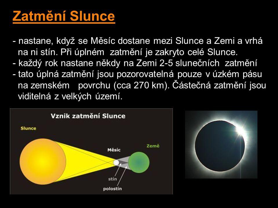 Zatmění Slunce - nastane, když se Měsíc dostane mezi Slunce a Zemi a vrhá na ni stín.