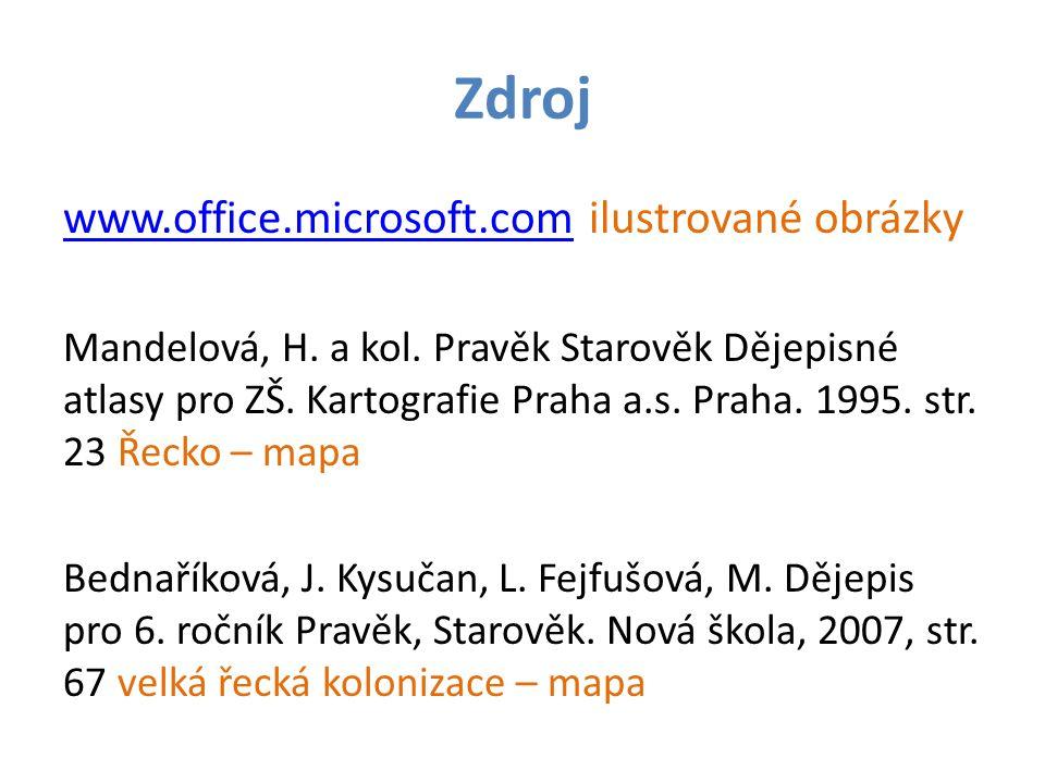 Zdroj www.office.microsoft.comwww.office.microsoft.com ilustrované obrázky Mandelová, H. a kol. Pravěk Starověk Dějepisné atlasy pro ZŠ. Kartografie P