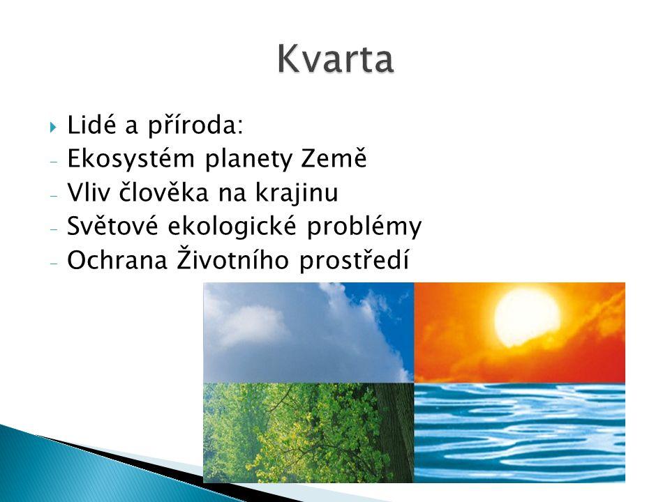  Lidé a příroda: - Ekosystém planety Země - Vliv člověka na krajinu - Světové ekologické problémy - Ochrana Životního prostředí