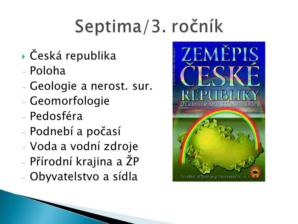  Česká republika - Poloha - Geologie a nerost. sur. - Geomorfologie - Pedosféra - Podnebí a počasí - Voda a vodní zdroje - Přírodní krajina a ŽP - Ob