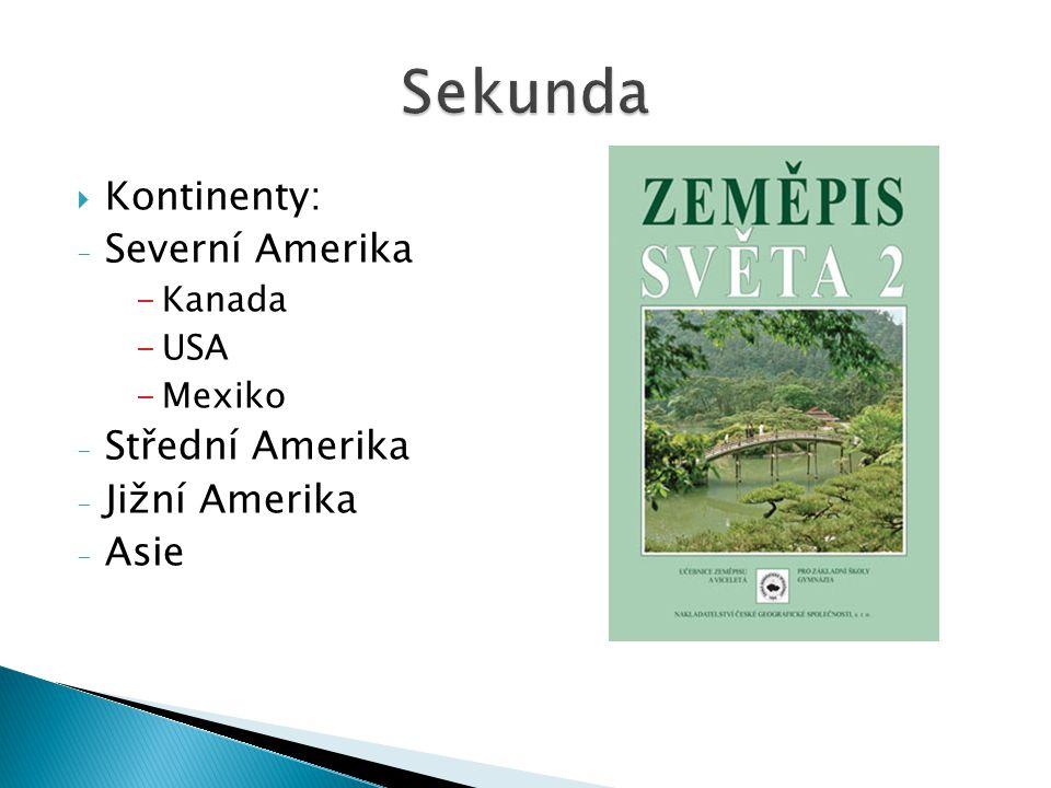  Kontinenty: - Severní Amerika -Kanada -USA -Mexiko - Střední Amerika - Jižní Amerika - Asie