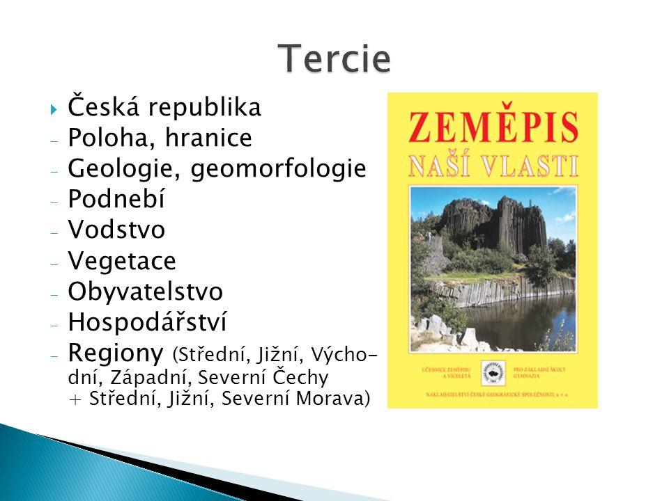  Česká republika - Poloha, hranice - Geologie, geomorfologie - Podnebí - Vodstvo - Vegetace - Obyvatelstvo - Hospodářství - Regiony (Střední, Jižní,