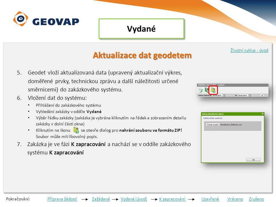 Aktualizace dat geodetem 5.Geodet vloží aktualizovaná data (upravený aktualizační výkres, doměřené prvky, technickou zprávu a další náležitosti určené směrnicemi) do zakázkového systému.
