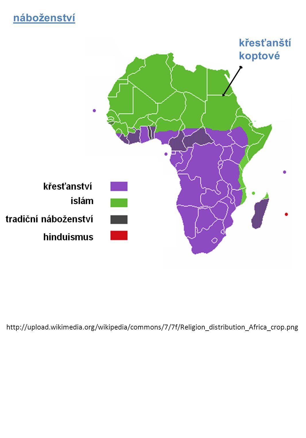 náboženství http://upload.wikimedia.org/wikipedia/commons/7/7f/Religion_distribution_Africa_crop.png křesťanští koptové