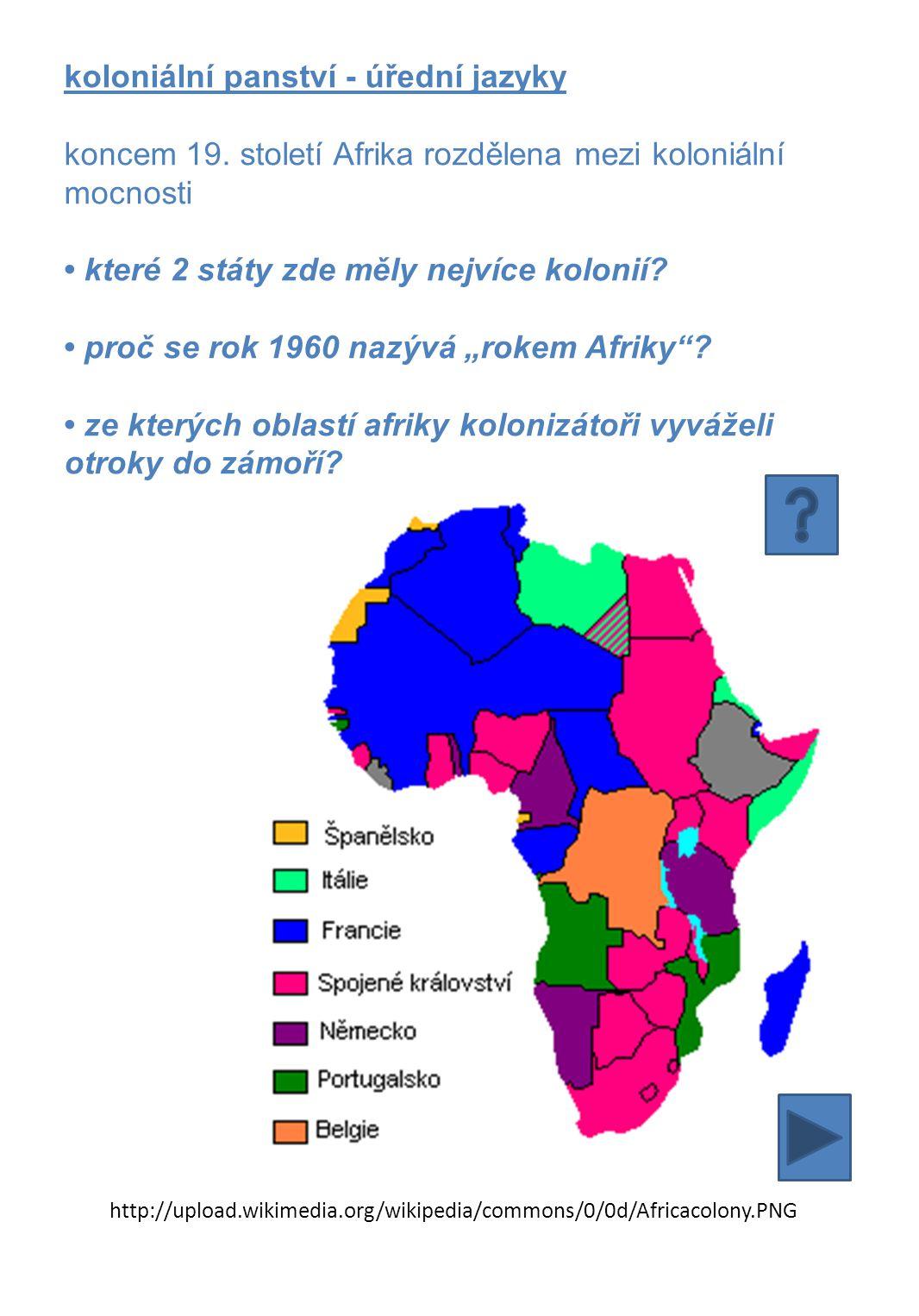koloniální panství - úřední jazyky koncem 19.