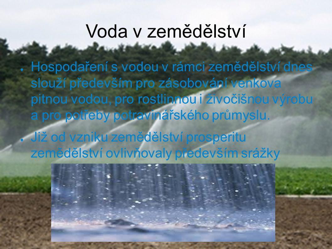 Voda v zemědělství ● Hospodaření s vodou v rámci zemědělství dnes slouží především pro zásobování venkova pitnou vodou, pro rostlinnou i živočišnou vý
