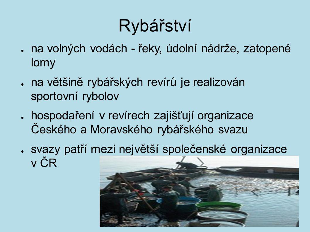 Rybářství ● na volných vodách - řeky, údolní nádrže, zatopené lomy ● na většině rybářských revírů je realizován sportovní rybolov ● hospodaření v reví
