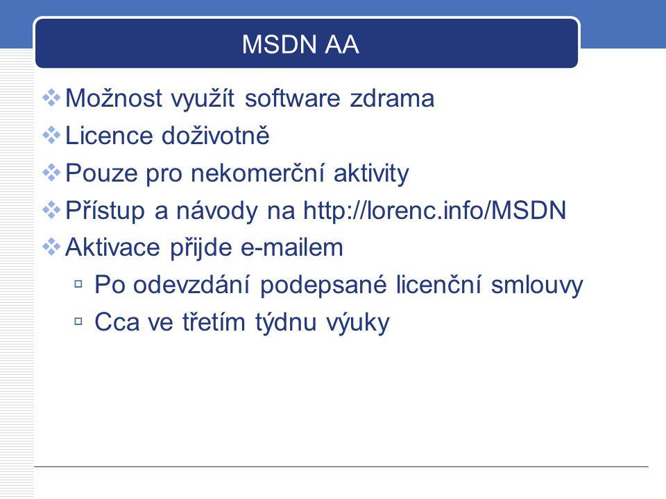 MSDN AA  Možnost využít software zdrama  Licence doživotně  Pouze pro nekomerční aktivity  Přístup a návody na http://lorenc.info/MSDN  Aktivace