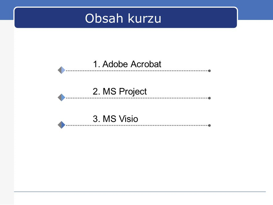 Obsah kurzu 1. Adobe Acrobat 2. MS Project 3. MS Visio