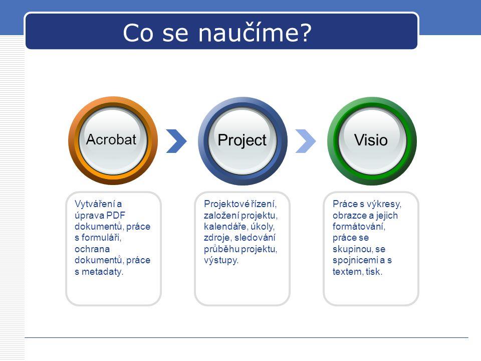 Projektové řízení, založení projektu, kalendáře, úkoly, zdroje, sledování průběhu projektu, výstupy. Vytváření a úprava PDF dokumentů, práce s formulá