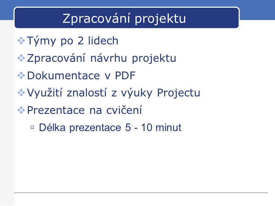 Zpracování projektu  Týmy po 2 lidech  Zpracování návrhu projektu  Dokumentace v PDF  Využití znalostí z výuky Projectu  Prezentace na cvičení 