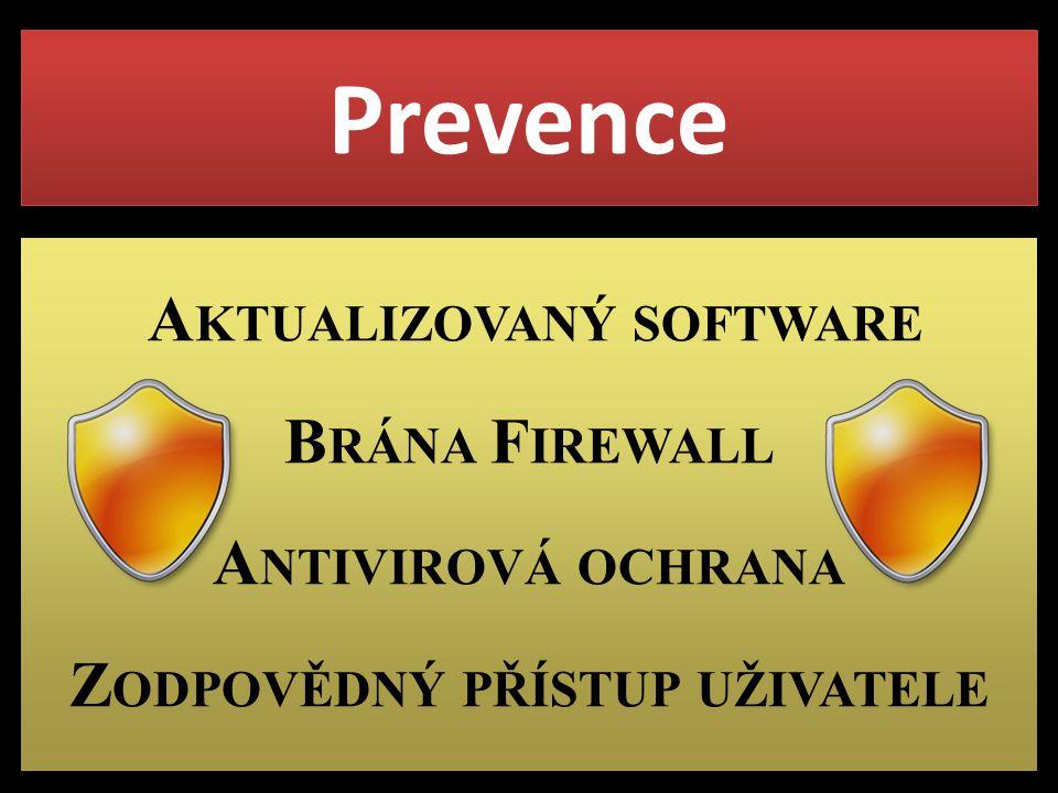 Prevence A KTUALIZOVANÝ SOFTWARE B RÁNA F IREWALL A NTIVIROVÁ OCHRANA Z ODPOVĚDNÝ PŘÍSTUP UŽIVATELE