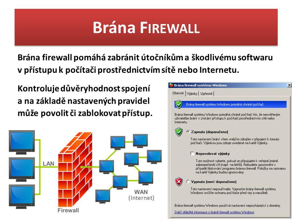 Brána F IREWALL Brána firewall pomáhá zabránit útočníkům a škodlivému softwaru v přístupu k počítači prostřednictvím sítě nebo Internetu.