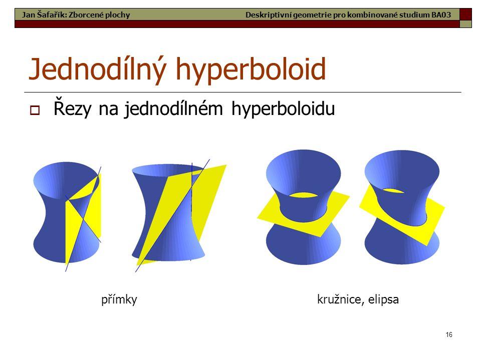 16 Jednodílný hyperboloid  Řezy na jednodílném hyperboloidu přímkykružnice, elipsa Jan Šafařík: Zborcené plochyDeskriptivní geometrie pro kombinované