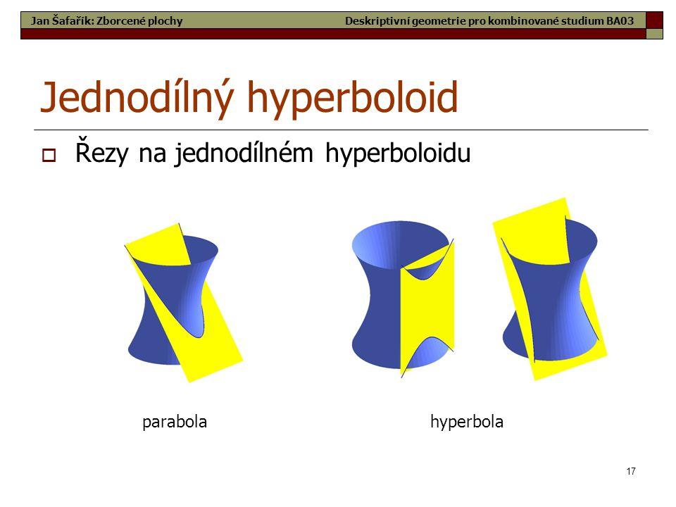 17 Jednodílný hyperboloid  Řezy na jednodílném hyperboloidu parabolahyperbola Jan Šafařík: Zborcené plochyDeskriptivní geometrie pro kombinované stud