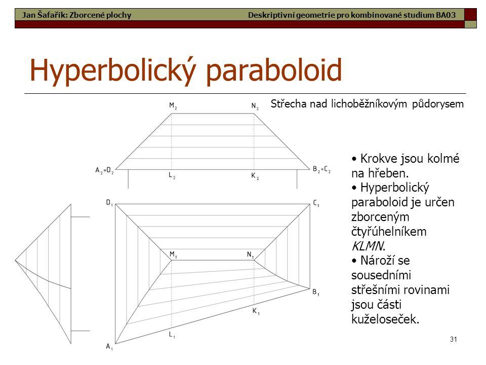 31 Hyperbolický paraboloid Střecha nad lichoběžníkovým půdorysem Jan Šafařík: Zborcené plochy • Krokve jsou kolmé na hřeben.