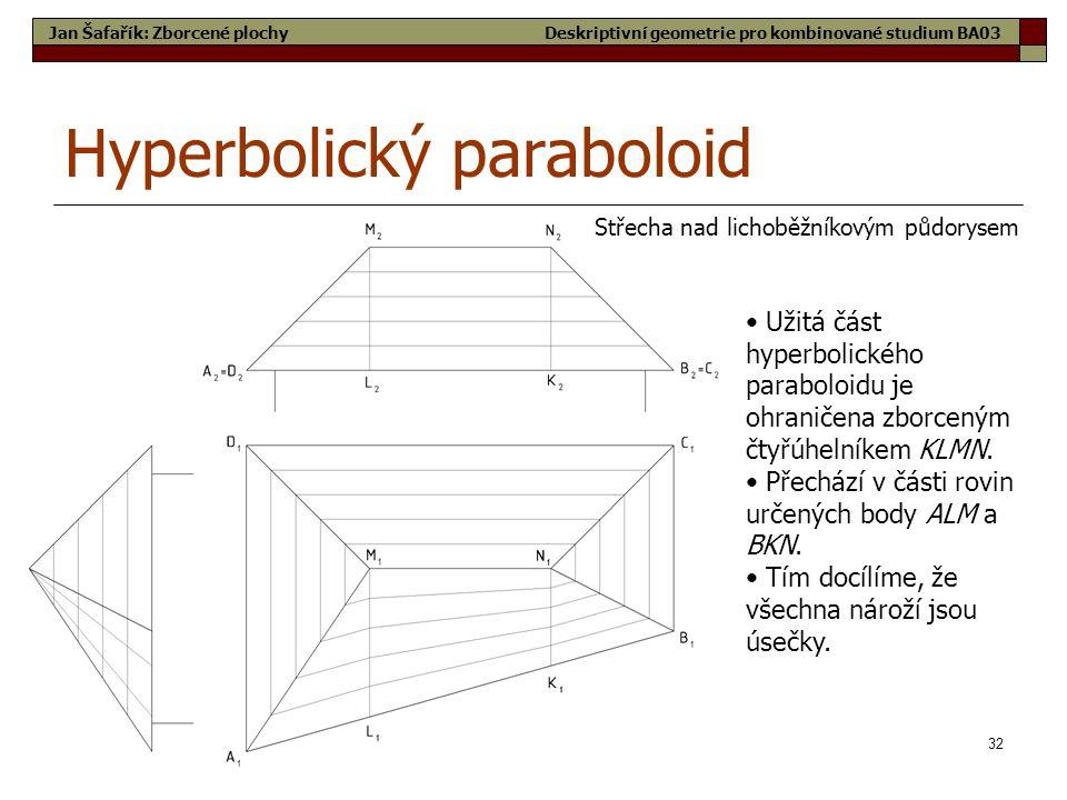 32 Hyperbolický paraboloid Střecha nad lichoběžníkovým půdorysem Jan Šafařík: Zborcené plochy • Užitá část hyperbolického paraboloidu je ohraničena zborceným čtyřúhelníkem KLMN.