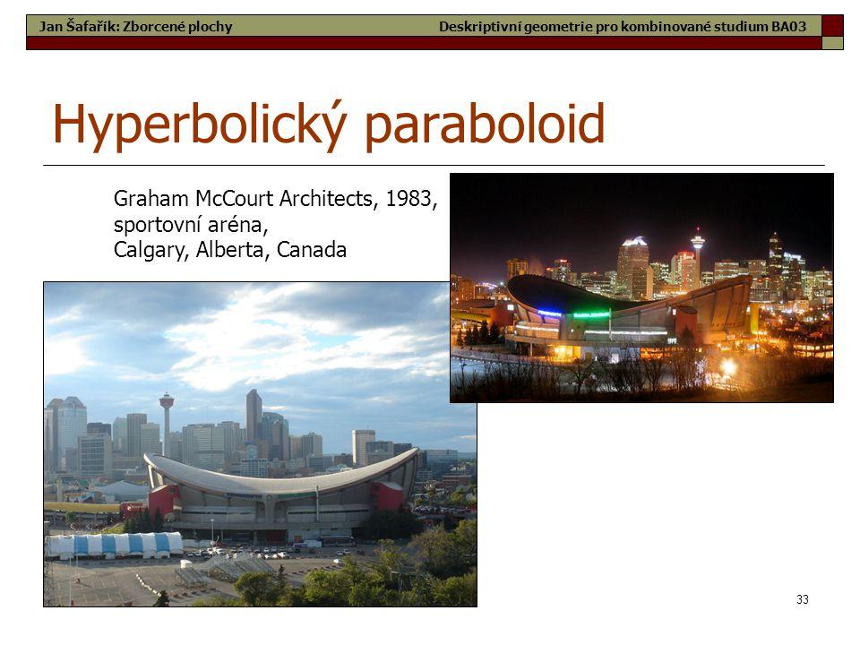 33 Hyperbolický paraboloid Graham McCourt Architects, 1983, sportovní aréna, Calgary, Alberta, Canada Jan Šafařík: Zborcené plochyDeskriptivní geometrie pro kombinované studium BA03