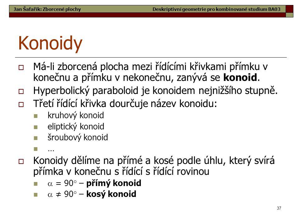 37 Konoidy  Má-li zborcená plocha mezi řídícími křivkami přímku v konečnu a přímku v nekonečnu, zanývá se konoid.