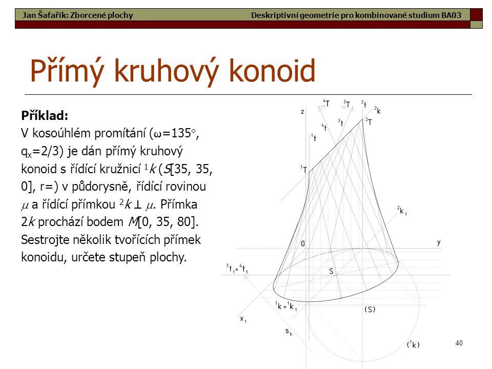 40 Přímý kruhový konoid Jan Šafařík: Zborcené plochy Příklad: V kosoúhlém promítání (  =135 , q x =2/3) je dán přímý kruhový konoid s řídící kružnicí 1 k (S[35, 35, 0], r=) v půdorysně, řídící rovinou  a řídící přímkou 2 k  .