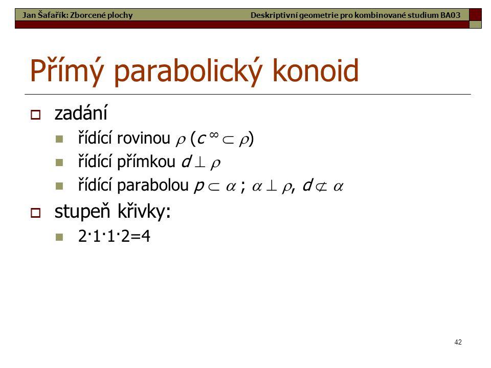 42 Přímý parabolický konoid  zadání  řídící rovinou  (c ∞   )  řídící přímkou d    řídící parabolou p   ;   , d    stupeň křivky:  2