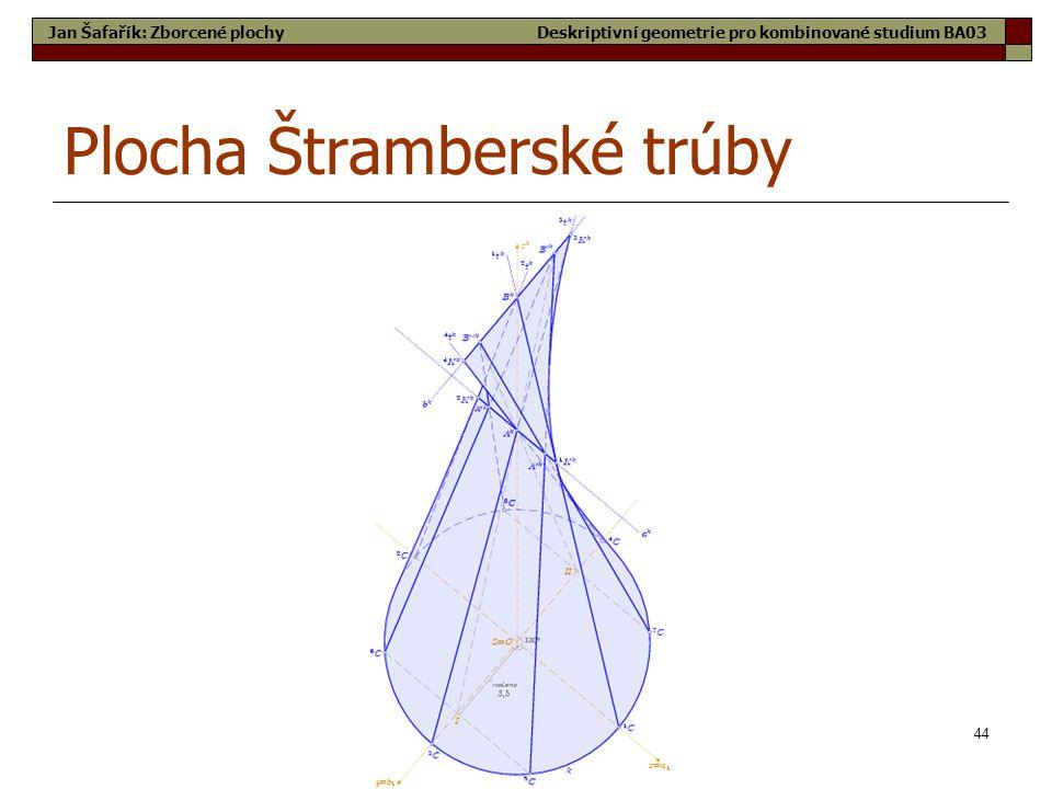44 Plocha Štramberské trúby Jan Šafařík: Zborcené plochyDeskriptivní geometrie pro kombinované studium BA03