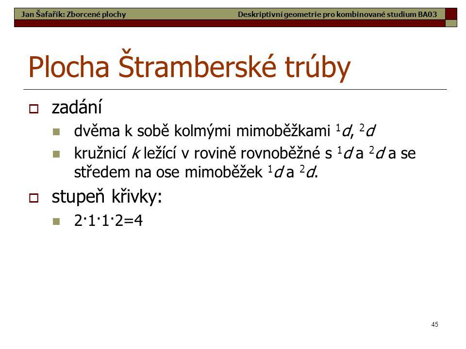 45 Plocha Štramberské trúby  zadání  dvěma k sobě kolmými mimoběžkami 1 d, 2 d  kružnicí k ležící v rovině rovnoběžné s 1 d a 2 d a se středem na ose mimoběžek 1 d a 2 d.