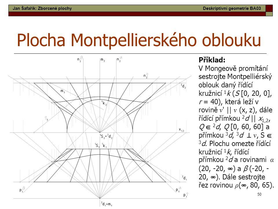 50 Plocha Montpellierského oblouku Příklad: V Mongeově promítání sestrojte Montpelliérský oblouk daný řídící kružnicí 1 k (S [0, 20, 0], r = 40), která leží v rovině ν    ν (x, z), dále řídící přímkou 2 d    x 1,2, Q  2 d, Q [0, 60, 60] a přímkou 3 d, 3 d  ν, S  3 d.