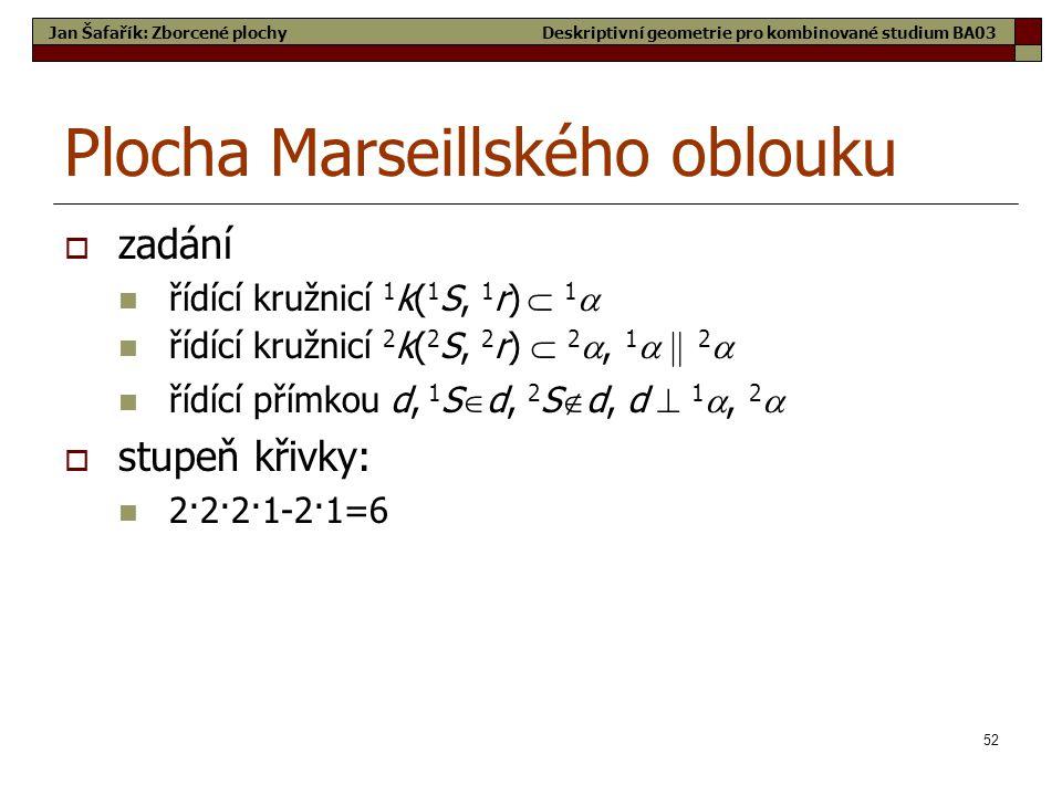 52 Plocha Marseillského oblouku  zadání  řídící kružnicí 1 k( 1 S, 1 r)  1   řídící kružnicí 2 k( 2 S, 2 r)  2 , 1   2   řídící přímkou d, 1 S  d, 2 S  d, d  1 , 2   stupeň křivky:  2·2·2·1-2·1=6 Jan Šafařík: Zborcené plochyDeskriptivní geometrie pro kombinované studium BA03