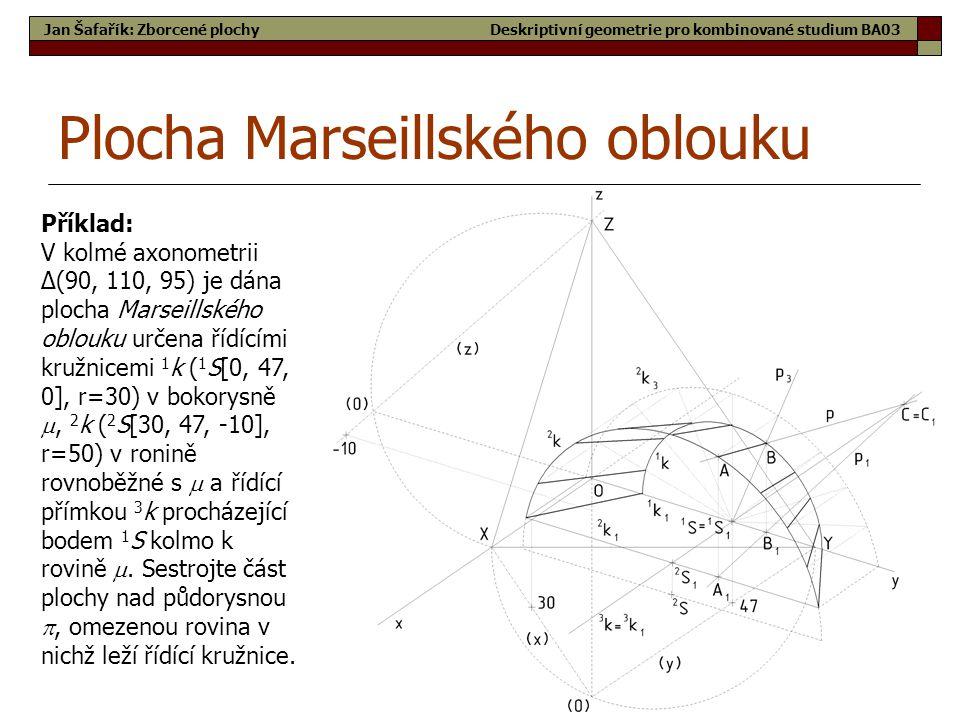 54 Plocha Marseillského oblouku Jan Šafařík: Zborcené plochy Příklad: V kolmé axonometrii Δ(90, 110, 95) je dána plocha Marseillského oblouku určena řídícími kružnicemi 1 k ( 1 S[0, 47, 0], r=30) v bokorysně , 2 k ( 2 S[30, 47, -10], r=50) v ronině rovnoběžné s  a řídící přímkou 3 k procházející bodem 1 S kolmo k rovině .